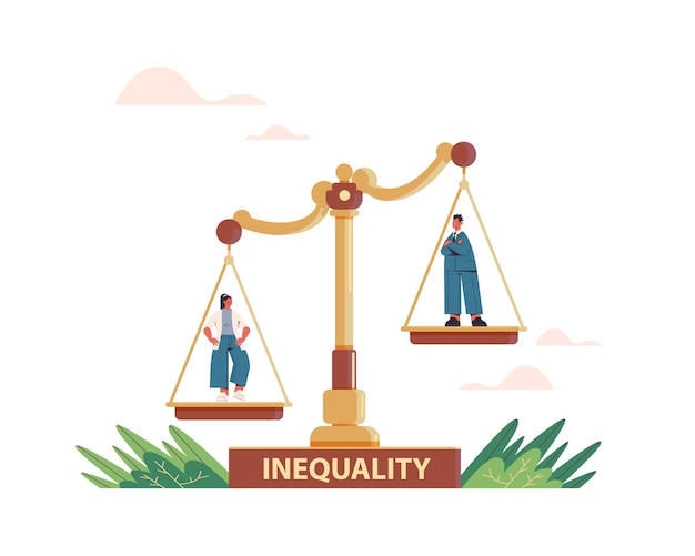 Businessman and businesswoman on scales business corporate inequality concept gender male vs female unequal opportunities Premium Vector
