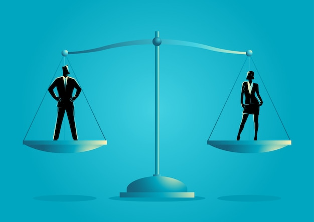 Businessman and businesswoman standing on a scale Premium Vector