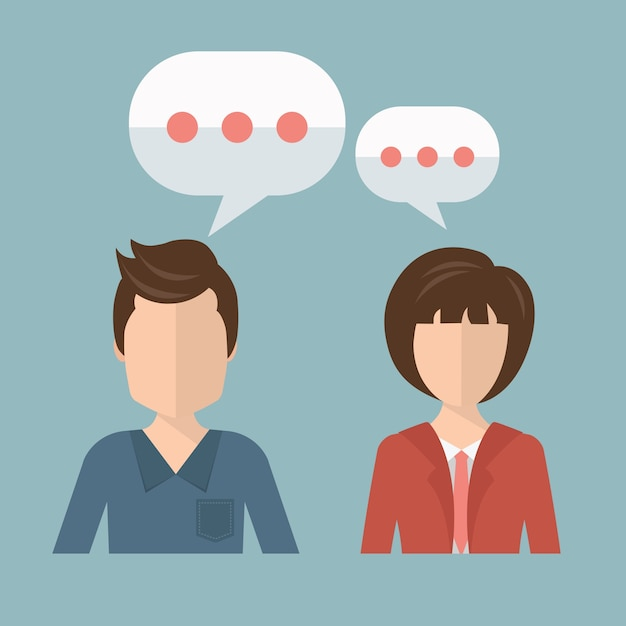 Businessman and businesswoman talking Free Vector