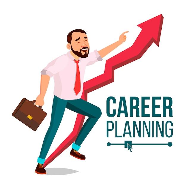 Businessman career planning Premium Vector
