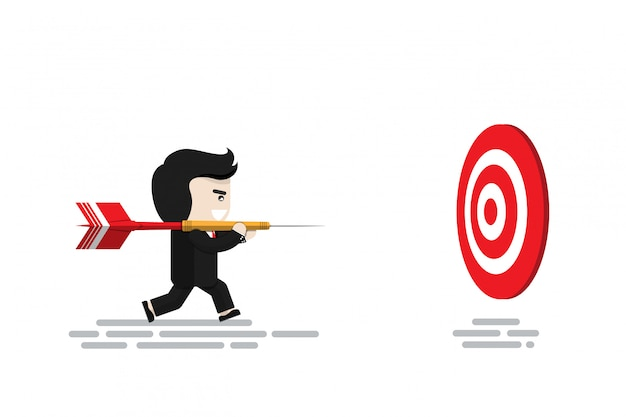 Businessman carry big red dart running to target dart board , flat design character, illustration element, financial concept Premium Vector