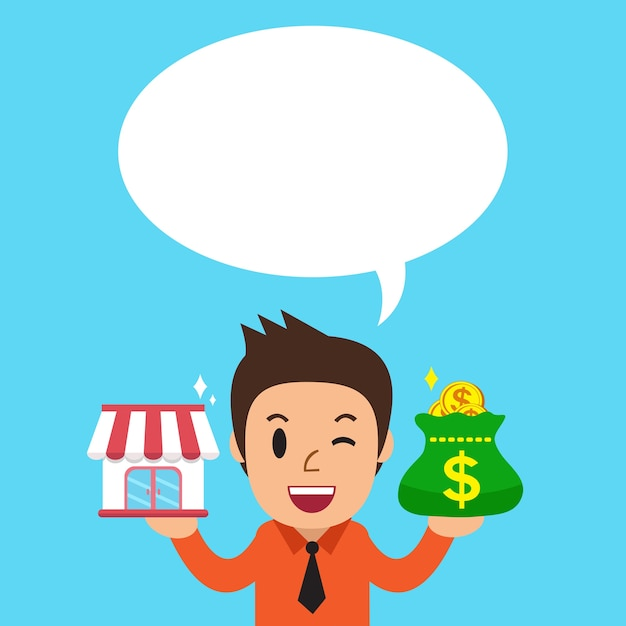 Businessman carrying franchise business store and money bag with white speech bubble Premium Vector