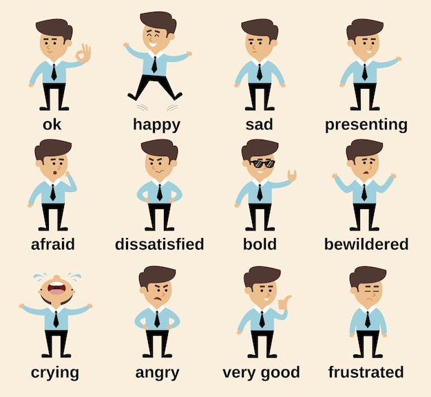 Businessman cartoon character emotions set isolated vector illustration Free Vector