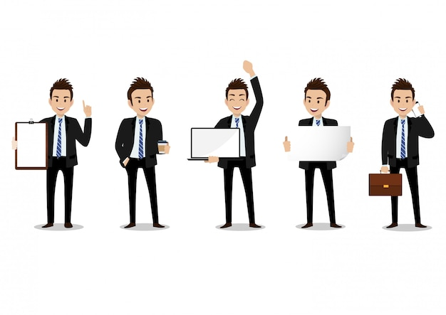 Businessman cartoon character, set of four poses. handsome man in office style smart suit Premium Vector