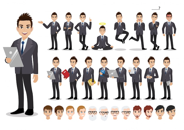 Businessman cartoon character set. handsome business man in office style smart suit . Premium Vector