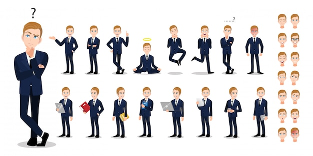 Businessman cartoon character set. handsome business man in office style smart suit. Premium Vector