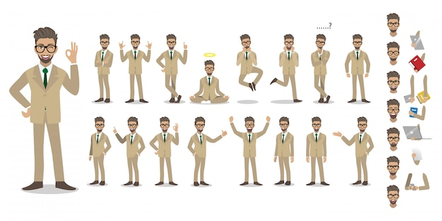 Businessman cartoon character set. handsome businessman in office style smart suit. Premium Vector
