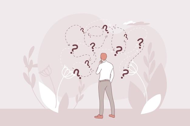 Бизнесмен мультипликационный персонаж стоит и, родственные правильные направления решения вопросов, дилемм ситуаций Premium векторы