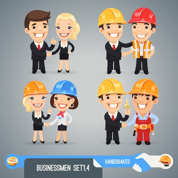 Businessman cartoon characters set Premium Vector