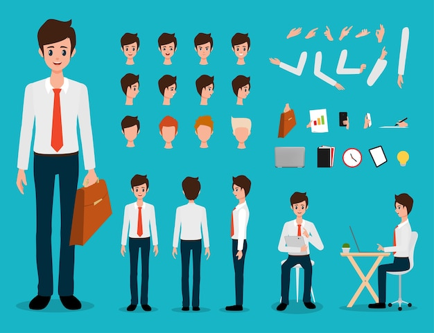 Businessman cartoon creating character Premium Vector