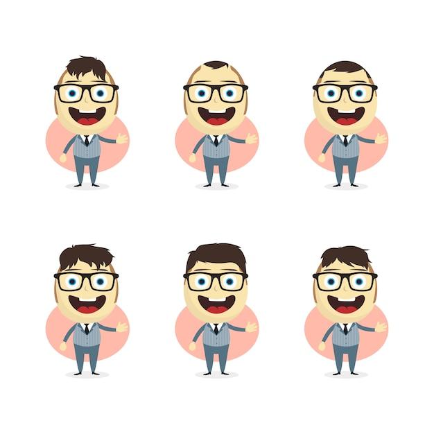 Businessman cartoon set theme vector art illustration Premium Vector