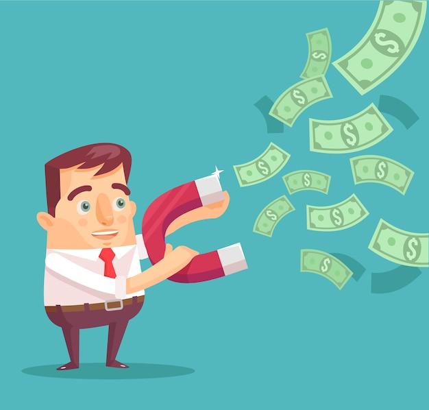 Businessman catches money with money magnet illustration Premium Vector