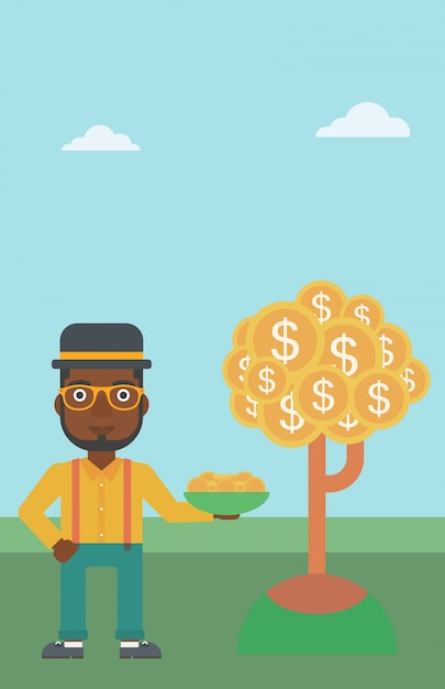 Businessman catching dollar coins. Premium Vector