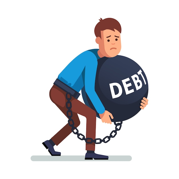businessman chained to debts Free Vector