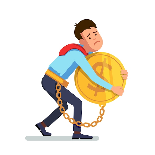 businessman chained to money Free Vector