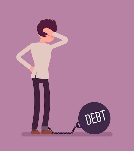 巨大な金属重量の負債と連鎖の実業家 Premiumベクター