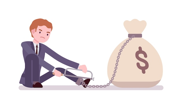 Businessman chained with a money sack Premium Vector