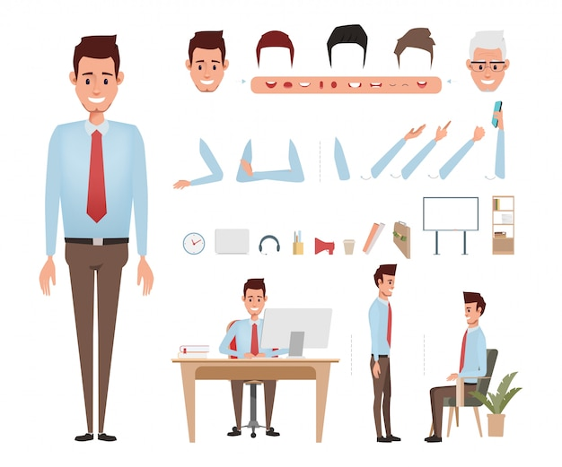 Businessman character for animation mouth. Premium Vector