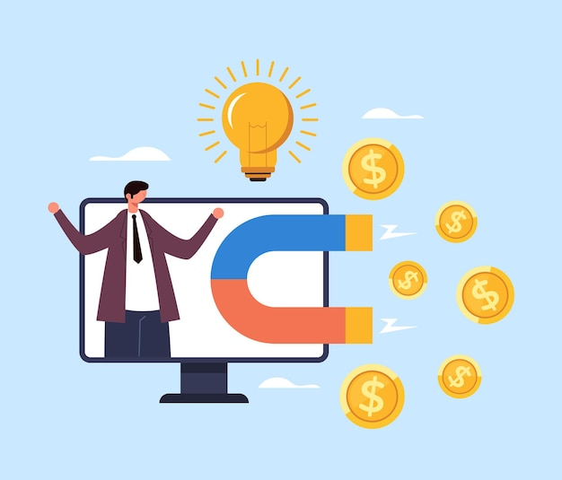Businessman character attract money income salary. successful business concept. Premium Vector