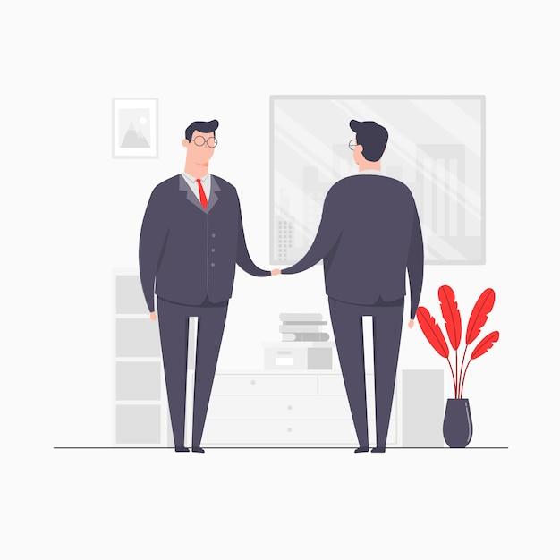 ビジネスマンキャラクターの概念図ビジネス契約手握手取引パートナーシップ Premiumベクター