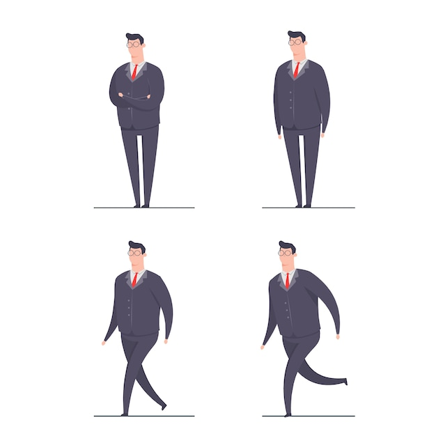 Бизнесмен концепция персонажа иллюстрация набор персонажей позы стоя бег ходьба Premium векторы