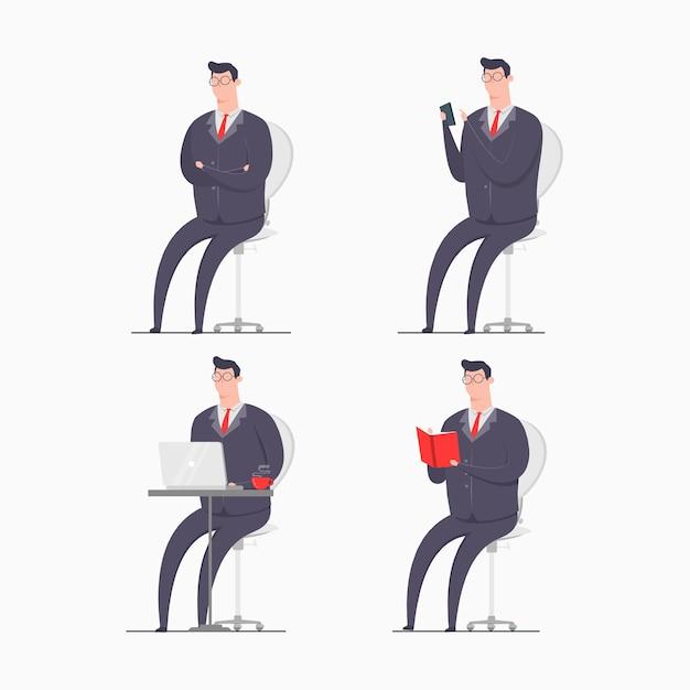 Бизнесмен характер концепции иллюстрации носить костюмы сидя смартфон гаджет ноутбук книгой Premium векторы
