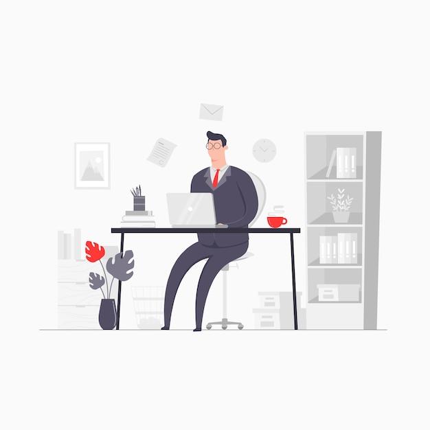 Иллюстрация концепции персонажа бизнесмена, работающая в офисе запуска компании Premium векторы