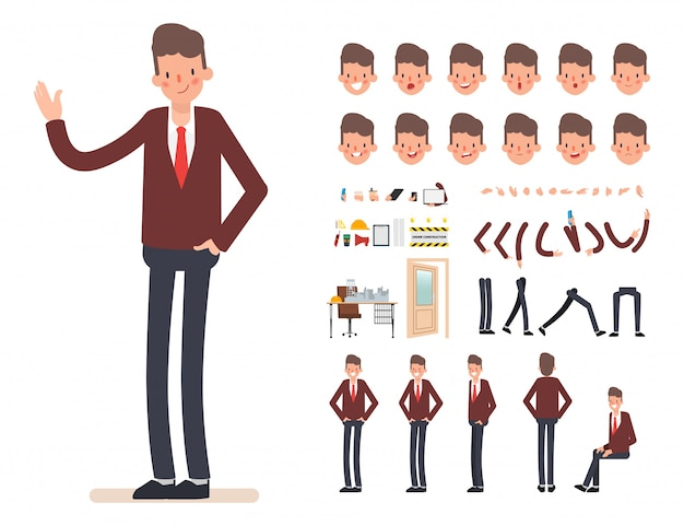 Businessman character creation for animation. Premium Vector