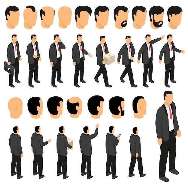 Набор для создания персонажа бизнесмен Бесплатные векторы