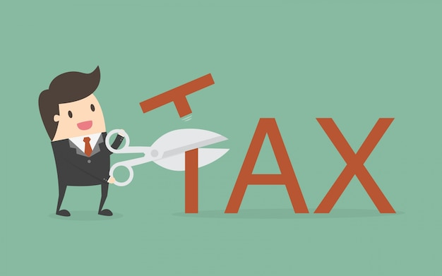 Businessman character cutting tax Free Vector