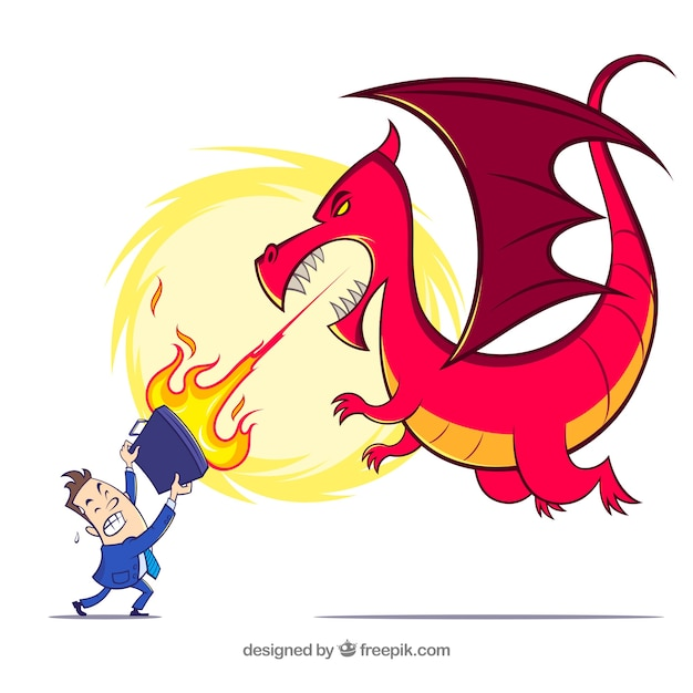 Businessman character fighting with a\ dragon