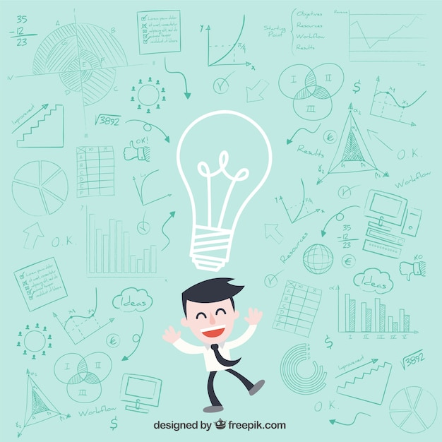 Businessman character having ideas  Free Vector