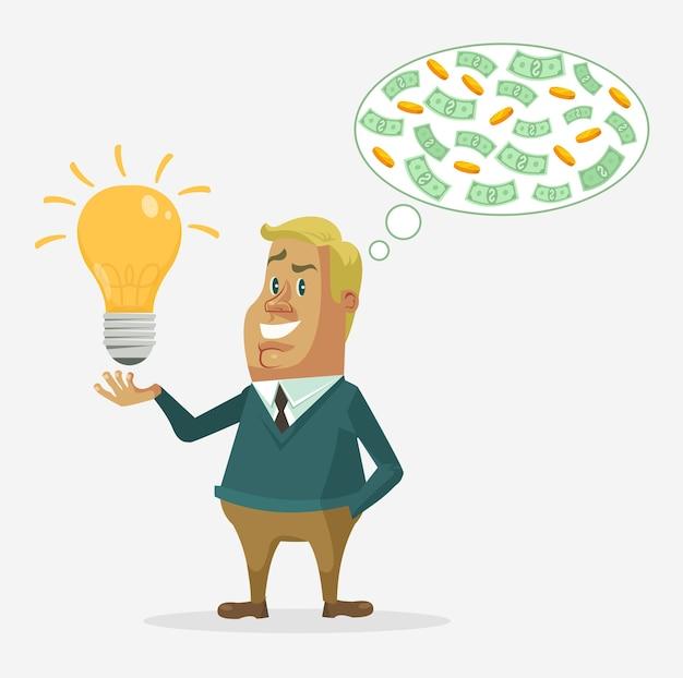 Businessman character makes money. Premium Vector