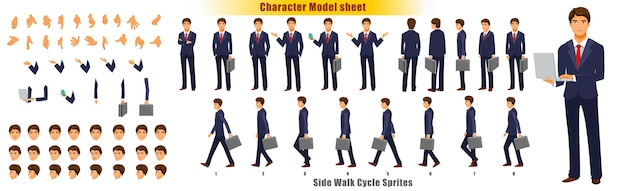 Businessman character model sheet with walk cycle animation sprites sheet Premium Vector