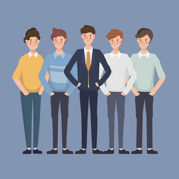 Businessman character in office. business people in group. hand drawn character design. Premium Vector