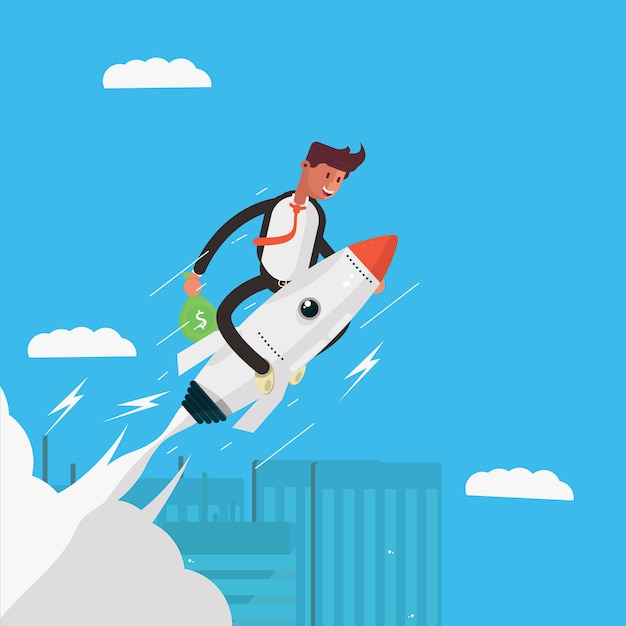 Businessman character on a rocket