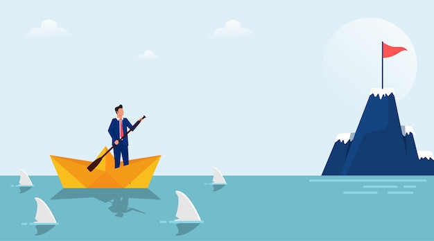 Businessman character on paper boat surrounded by sharks illustration. Premium Vector