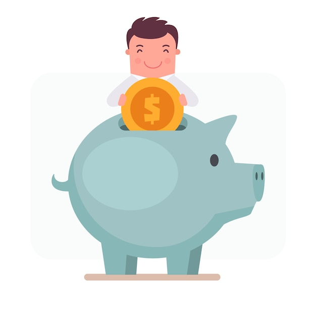 Businessman character putting money in a piggy bank Free Vector