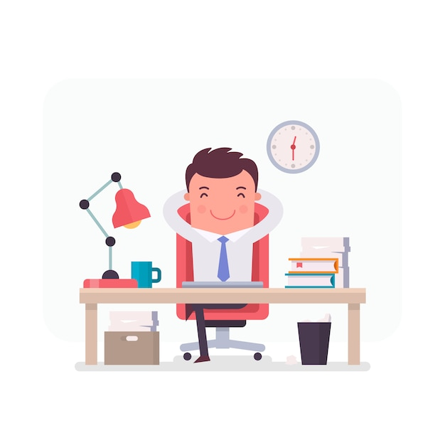 businessman character relaxed in the office vector free