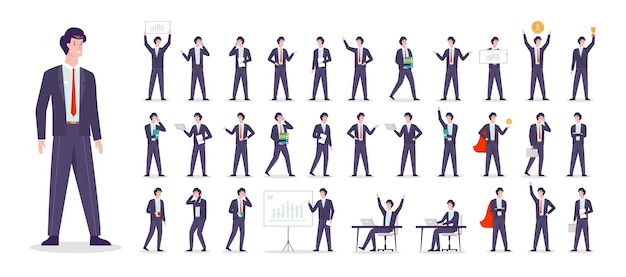 ビジネスマンの文字セット。スーツを着たキャラクター Premiumベクター
