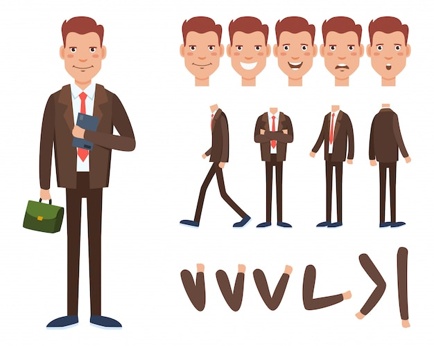 Businessman character set with different poses, emotions Free Vector