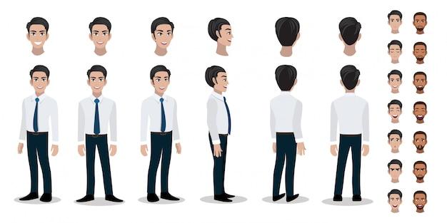 Businessman character set Premium Vector