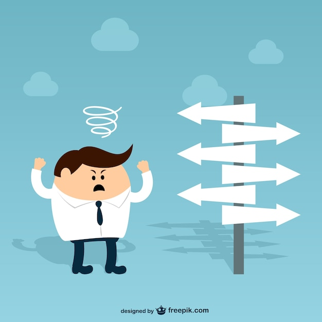 Businessman character with direction\ signs