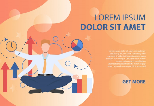 Businessman character with four hands on orange background Free Vector