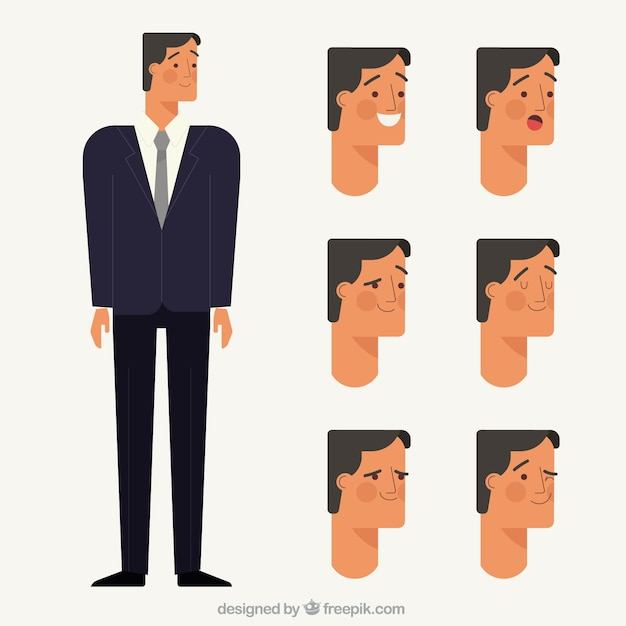 Businessman character with several facial expressions Free Vector