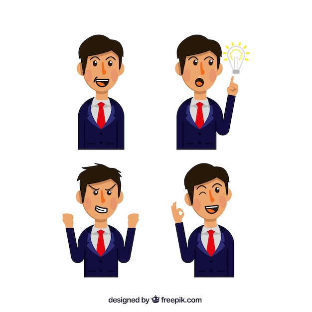 Businessman character with variety of expressive faces Free Vector