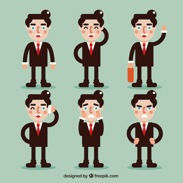 Businessman character with variety of\ expressive faces