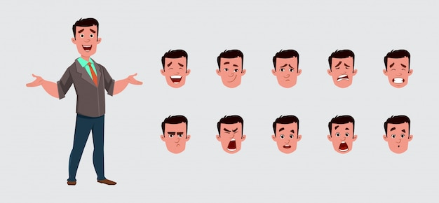 Businessman character with various facial emotions. Premium Vector
