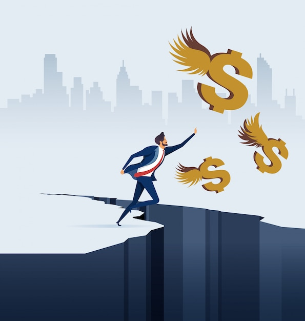 Businessman chasing dollars in business concept Premium Vector