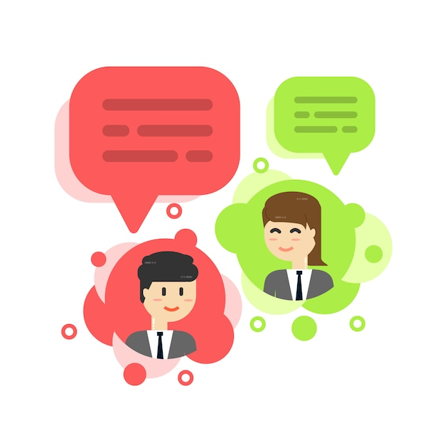 Businessman chat bubble, discuss social network, news Premium Vector